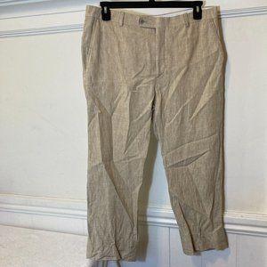 NEW Joseph Abboud Size 36 RN 77219 Tan Chambray Slim Fit 100% Linen Dress Pants